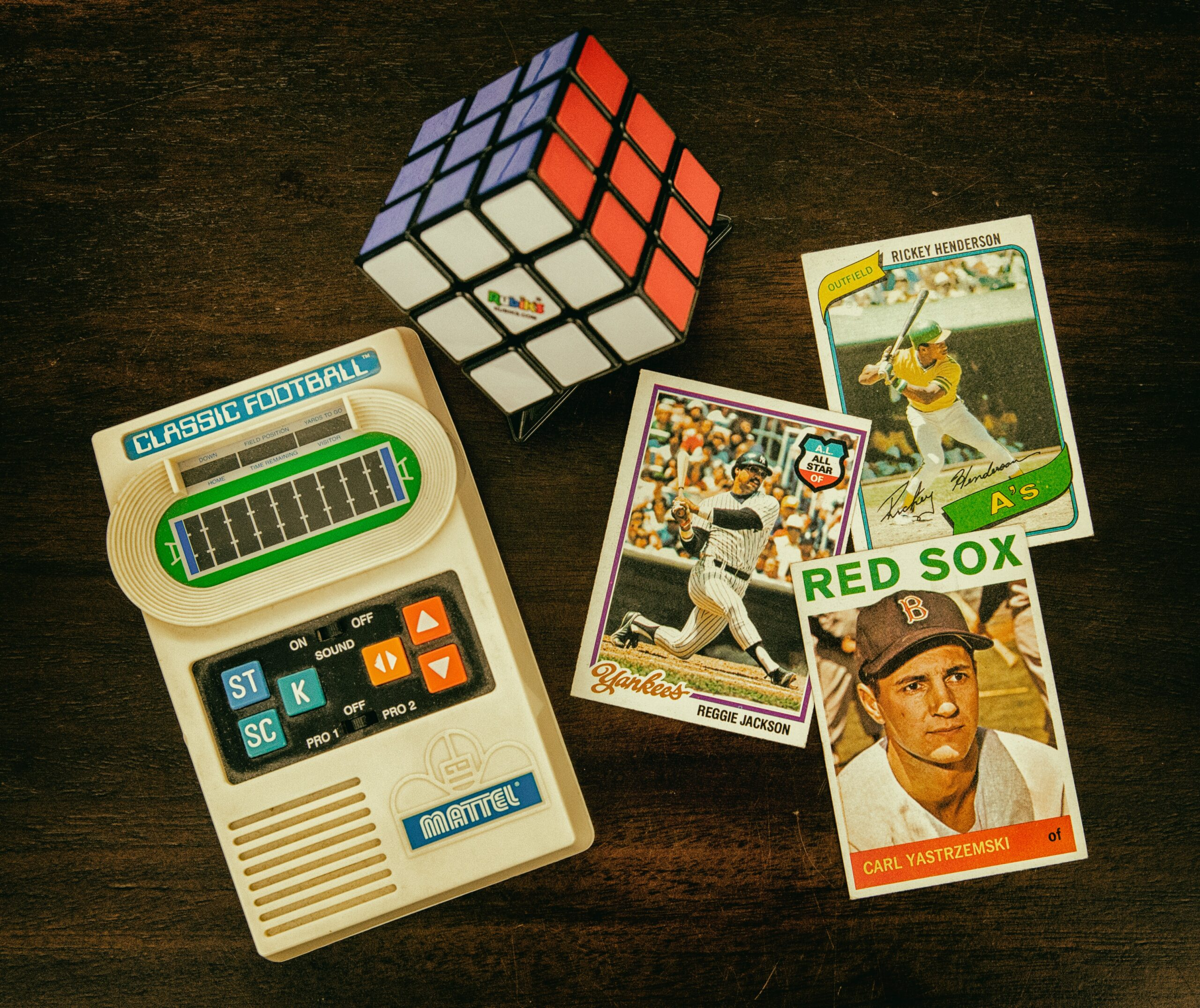 vintage trading cards and hand held game